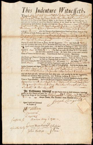 Document of indenture: Servant: Hermon, Mary. Master: Langrel, Joseph. Town of Master: Lebanon