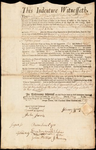 Document of indenture: Servant: Wakefield, Sarah. Master: Spring, Henry. Town of Master: Weston [Westown]