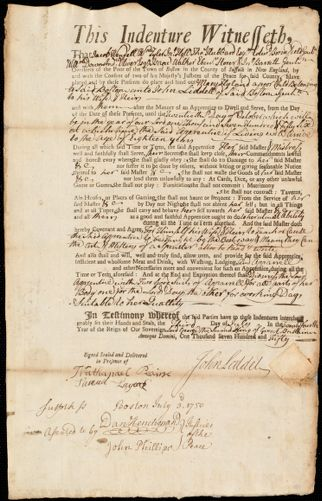 Document of indenture: Servant: Hyland, Mary. Master: Liddell, John. Town of Master: Boston