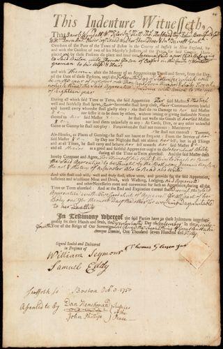 Document of indenture: Servant: Vail, Susanna. Master: Gleeson, Thomas. Town of Master: Oxford