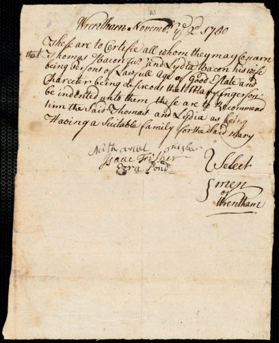 Document of indenture: Servant: Engerson, Mary. Master: Bacon, Thomas. Town of Master: Wrentham. Selectmen of the town of Wrentham autograph document signed to Whom It May Concern: Endorsement Certificate for Thomas Bacon.