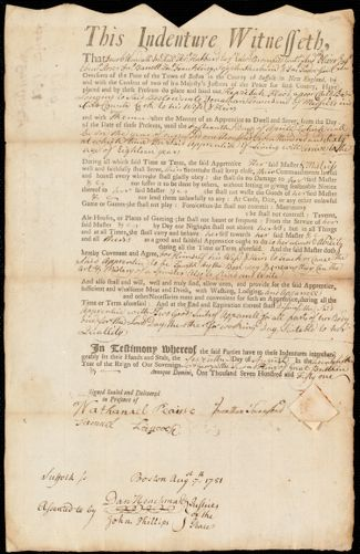 Document of indenture: Servant: Flood, Hepzibah. Master: Townsend, Jonathan. Town of Master: Medfield