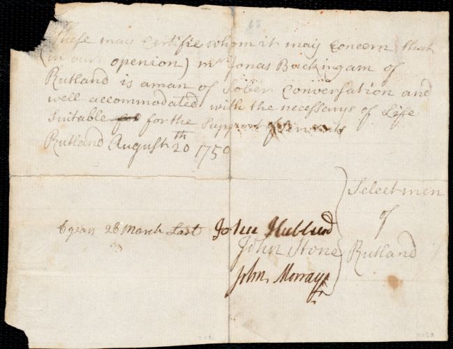 Document of indenture: Servant: Bahanny, Alexander. Master: Buckingham, Jonas. Town of Master: Rutland. Selectmen of the town of Rutland autograph document signed to the [Overseers of the town of Boston]: Endorsement Certificate for Jonas Buckingham.