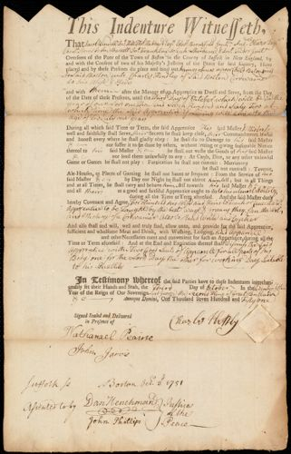 Document of indenture: Servant: Lucas, James. Master: Hendley, Charles. Town of Master: Boston