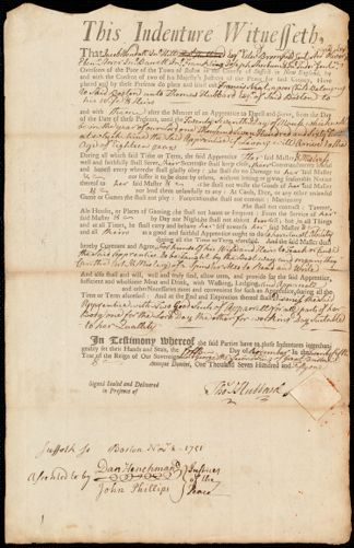 Document of indenture: Servant: Neat, Francis. Master: Hubbard, Thomas. Town of Master: Boston