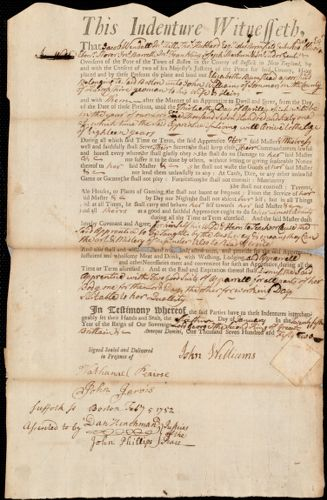 Document of indenture: Servant: Bumstead, Elizabeth. Master: Williams, John. Town of Master: Sommers
