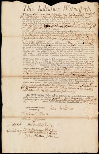 Document of indenture: Servant: Bumstead, Joseph. Master: Williams, John. Town of Master: Sommers