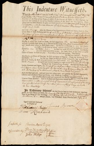 Document of indenture: Servant: Wheeler, Josiah. Master: Brown, James. Town of Master: Boston