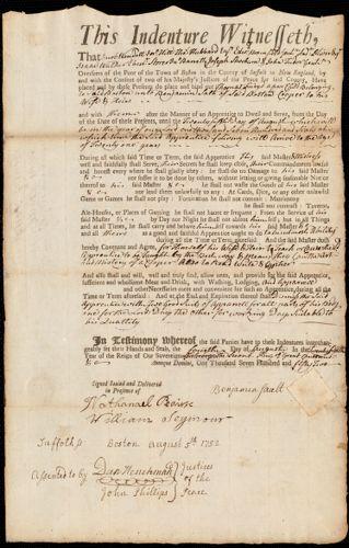 Document of indenture: Servant: Frieyd, Thomas. Master: Sault, Benjamin. Town of Master: Boston