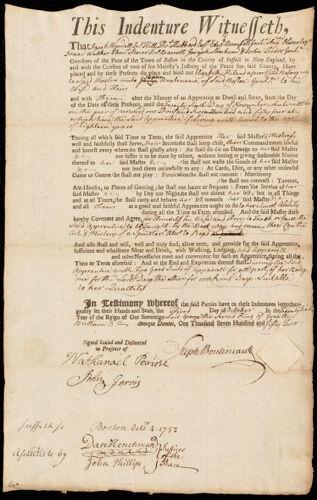 Document of indenture: Servant: Hiland, Elizabeth. Master: Boutineau, Stephen. Town of Master: Boston