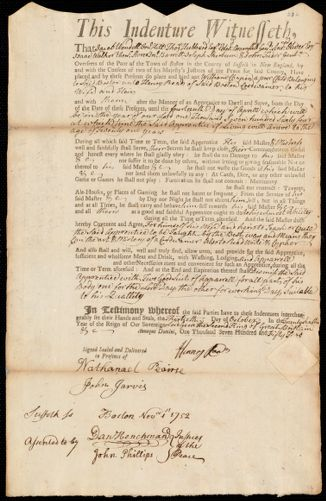 Document of indenture: Servant: Chapin, William. Master: Roads, Henry. Town of Master: Boston