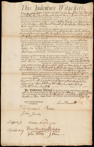 Document of indenture: Servant: Darby, William. Master: Barrett, Samuel. Town of Master: Boston