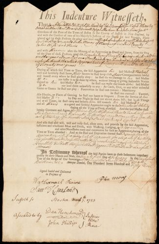 Document of indenture: Servant: Anderson, Hugh. Master: Morey, John. Town of Master: Roxbury