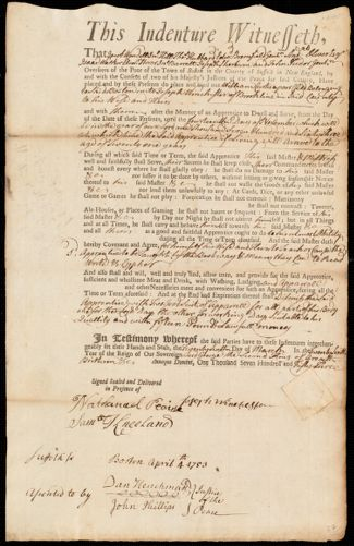 Document of indenture: Servant: Curtis, William. Master: Winchester, Joseph. Town of Master: Brookline