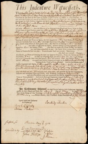 Document of indenture: Servant: Gullion, Mary. Master: Thacher, Oxenbridge. Town of Master: Boston