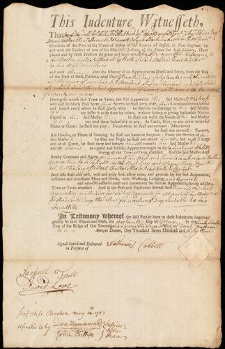 Document of indenture: Servant: Frie, John. Master: Cobbett, Nathaniel. Town of Master: Boston