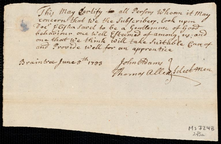 Document of indenture: Servant: Newton, Rebecca. Master: Savit [Savet], Elisha. Town of Master: Braintree. Selectmen of the town of Braintree autograph document signed to Whom It May Concern: Endorsement Certificate for Elisha Savit.