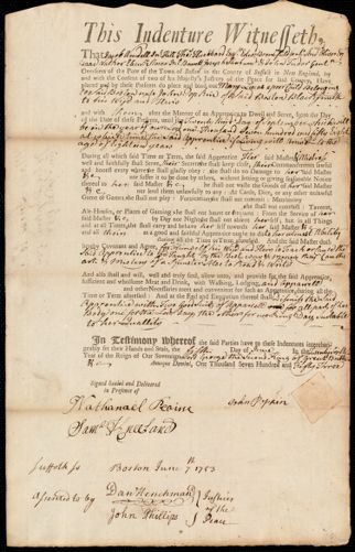 Document of indenture: Servant: Lucas, Mary. Master: Popkin, John. Town of Master: Boston