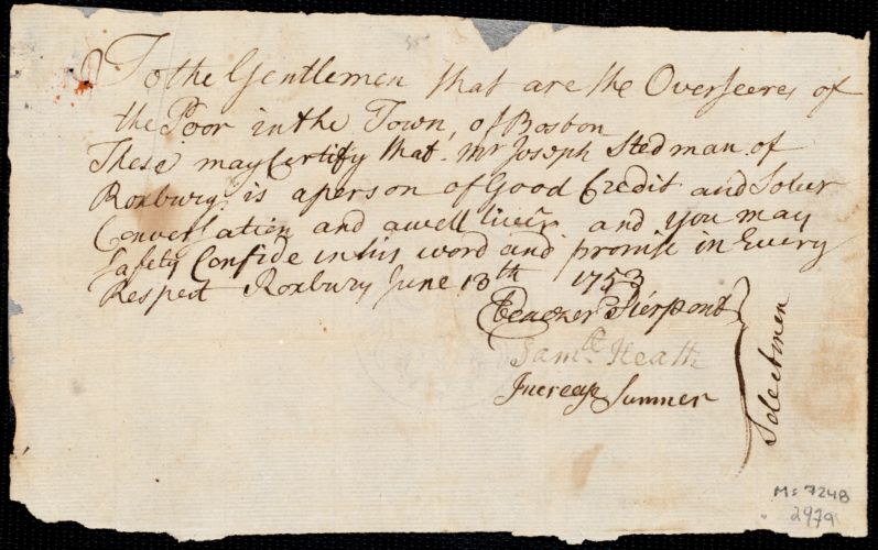 Document of indenture: Servant: Smith, Martha. Master: Stedman, Joseph. Town of Master: Roxbury. Selectmen of the town of Roxbury autograph document signed to the Overseers of the Poor of the town of Boston: Endorsement Certificate for Joseph Stedman.