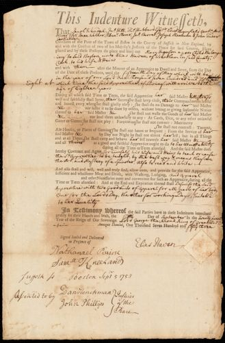 Document of indenture: Servant: Ingerson, Mary. Master: Haver, Elias. Town of Master: Wrentham