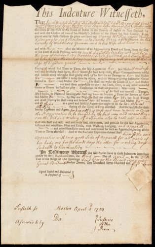 Document of indenture: Servant: McFay, Agnes. Master: Perie, James. Town of Master: Woburn