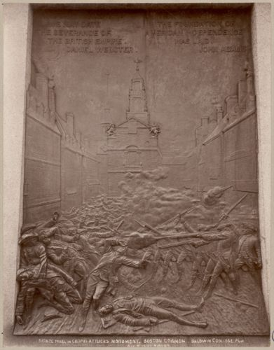 Bronze panel in Crispus Attucks monument. Boston Common