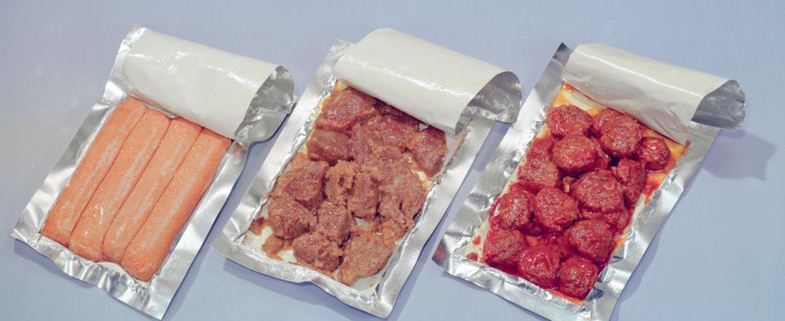 Thermostabilized wet meats, frankfurters, beef & gravy, meatballs