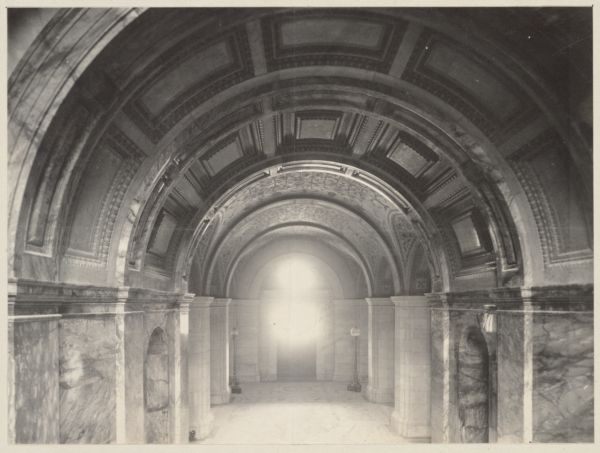 Entrance Hall from Grand Staircase, construction of the McKim Building