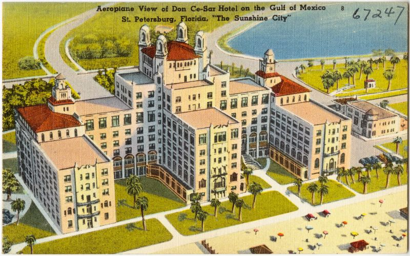 "Aeroplane view of Don Ce-Sar Hotel on the Gulf of Mexico, St. Petersburg, Florida, ""the sunshine city"""