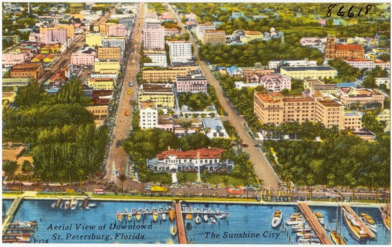 """Aerial view of downtown St. Petersburg, Florida, """"the sunshine city"""""""