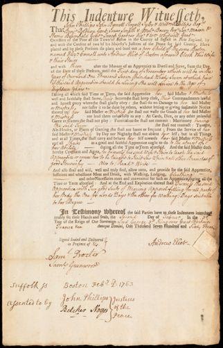 Document of indenture: Servant: Carroll, Elizabeth. Master: Eliot, Andrew. Town of Master: Boston