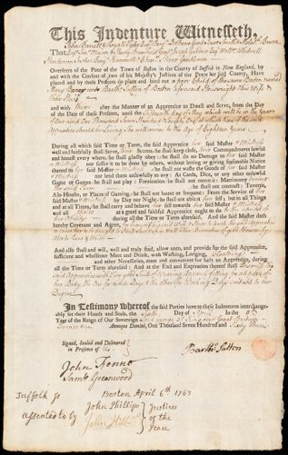 Document of indenture: Servant: Baner, Mary. Master: Sutton, Bartholomew. Town of Master: Boston