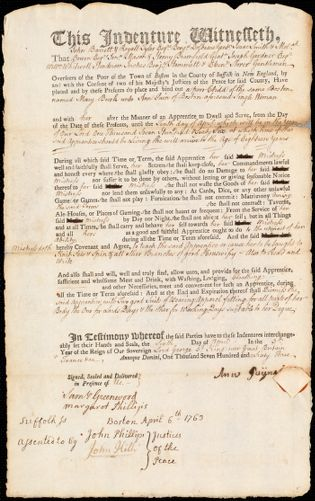 Document of indenture: Servant: Burk, Mary. Master: Payne [Pain], Ann. Town of Master: Boston