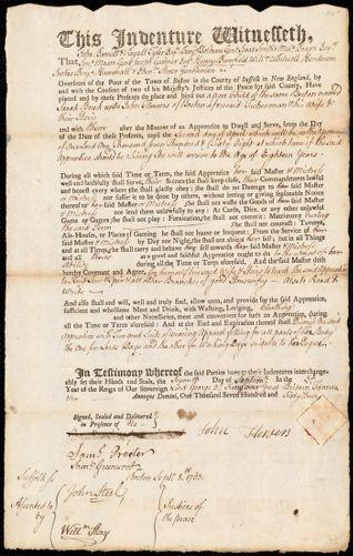 Document of indenture: Servant: Burk, Sarah. Master: Flowers, John. Town of Master: Boston