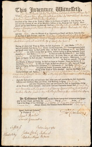 Document of indenture: Servant: Champney, Benjamin. Master: Emmons, Thomas. Town of Master: Boston
