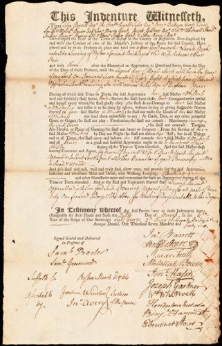 Document of indenture: Servant: Burk, Sarah. Master: Lovering, John. Town of Master: Boston