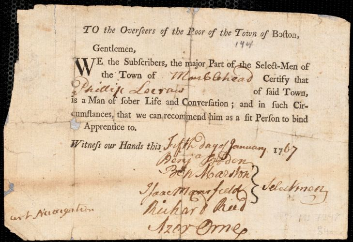 Document of indenture: Servant: Williams, John. Master: Lecraw, Peter/Phillip. Town of Master: Marblehead. Selectmen of the town of Marblehead autograph document signed to the Overseers of the Poor of the town of Boston: Endorsement Certificate for Phillip Lecraw.