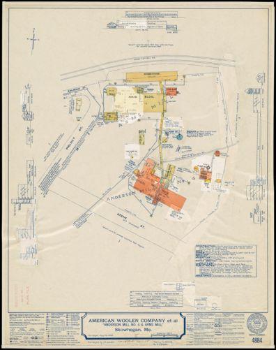 "American Woolen Company et al, ""Anderson Mill No. 4 & Arms Mill,"" Skowhegan, Me. [insurance map]"