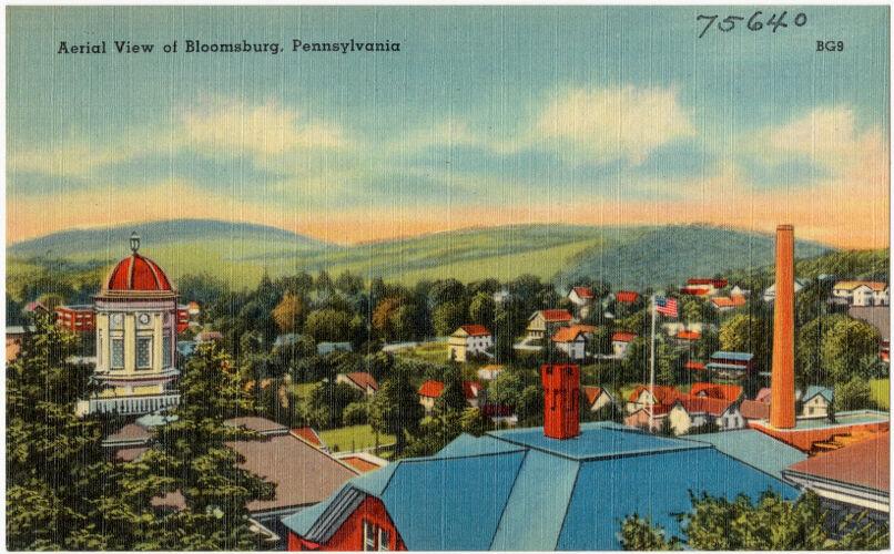 Aerial view of Bloomsburg, Pennsylvania
