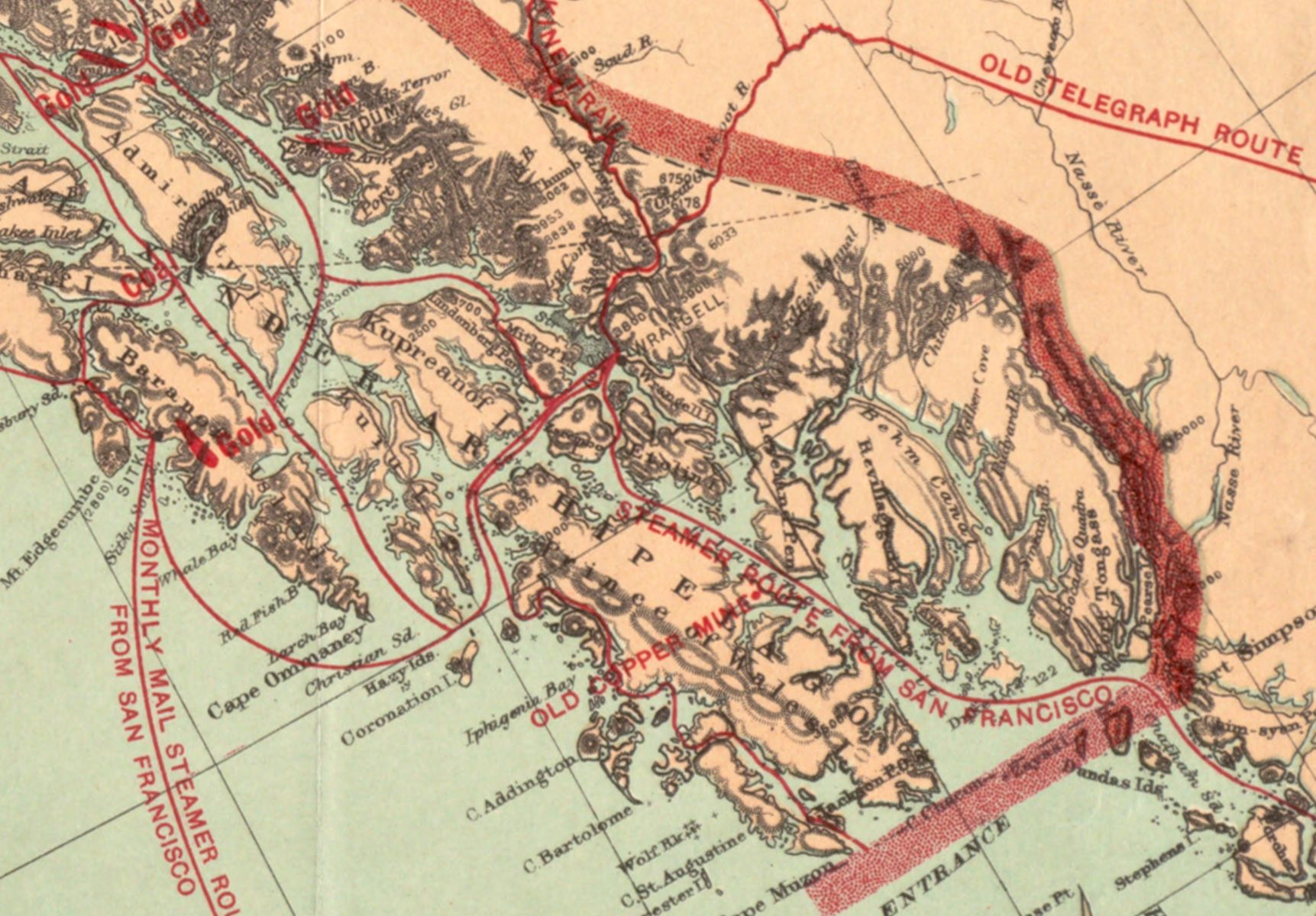 """""""The Gold and Coalfields of Alaska"""" map from the U.S. Geological Survey in 1898 shows deposits of resources (both gold and coal in this case), as well as steamer routes and trails."""