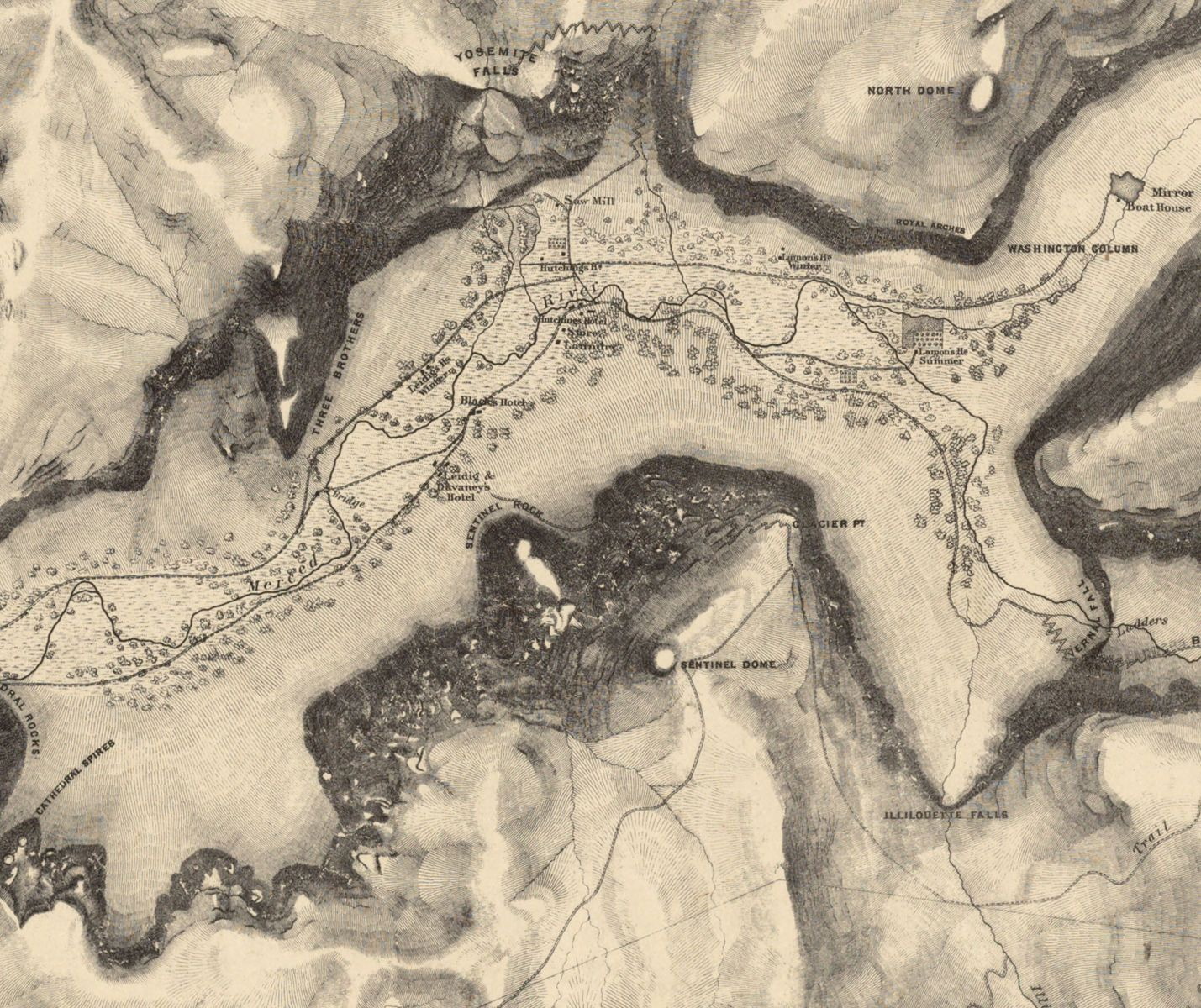 An 1890 map of Yosemite Valley