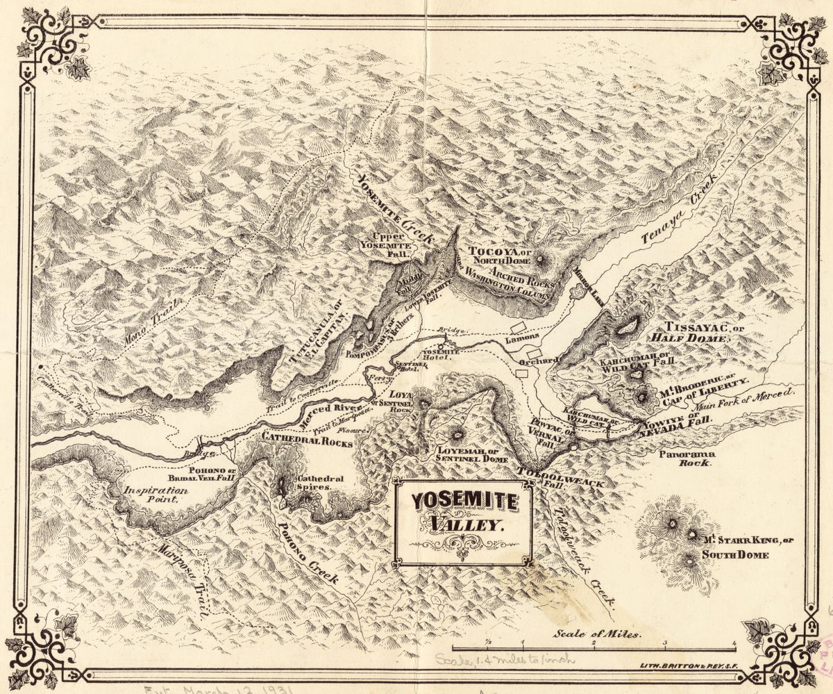 This map in our collections is an early map of the Yosemite Valley from the 1870s, after it had been declared a public trust of the state of California by President Lincoln, but before it would become an official National Park.