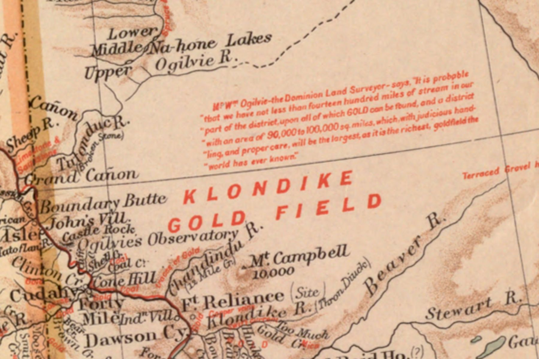 George Washington Bacon's map of the Klondike shows routesto get to Klondike gold fields, including steamships, railroads, and projected railways currently under construction.