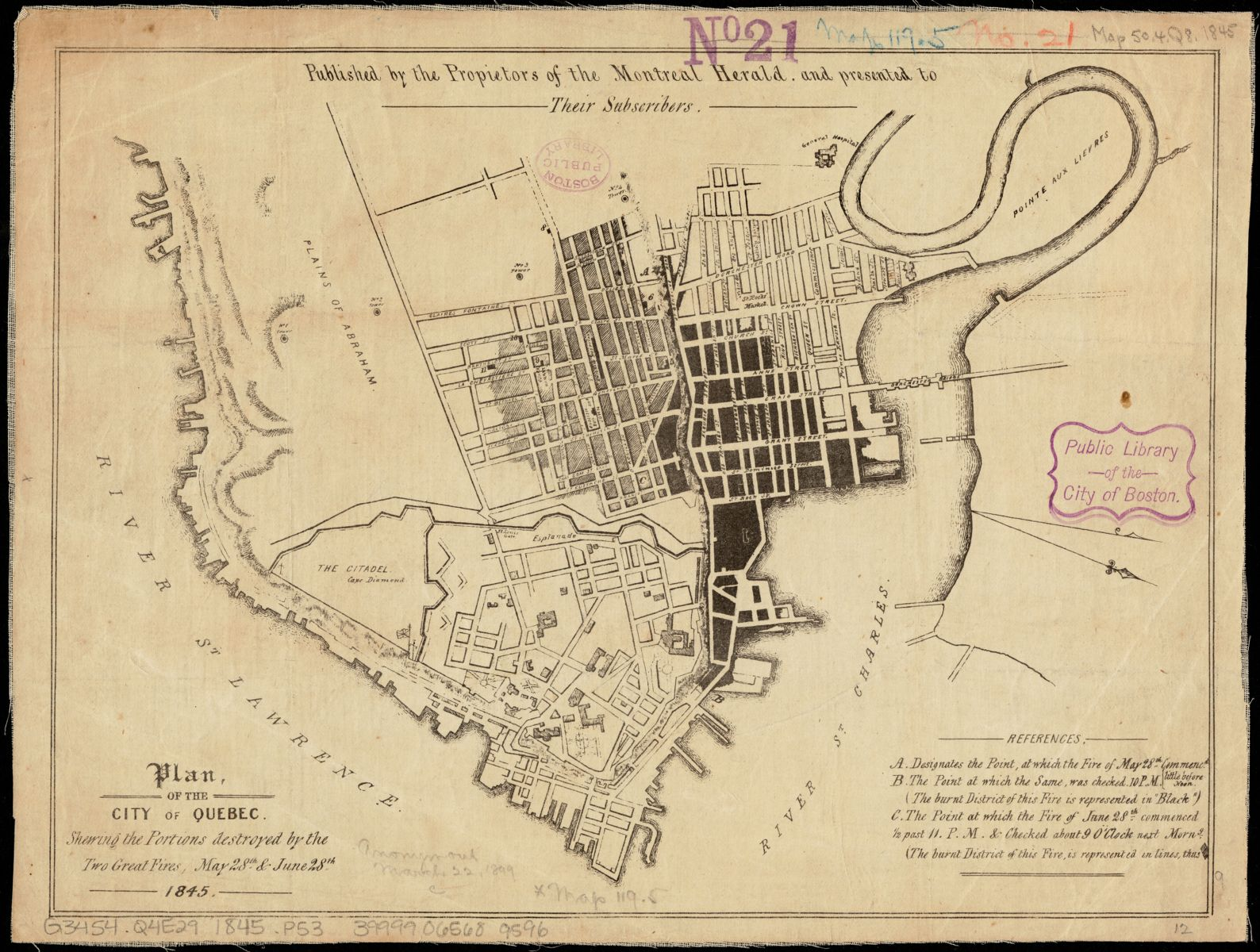 Plan of the city of Quebec (1845)