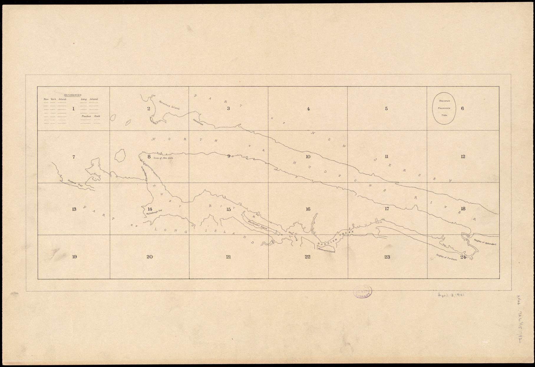 B. F. Stevens's facsimile of the unpublished British head quarters coloured manuscript map of New York & environs (1782)