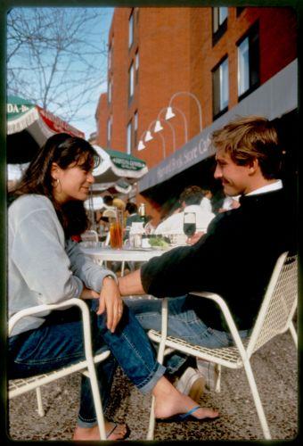 Young couple at outdoor Newbury Street café, Back Bay, Boston