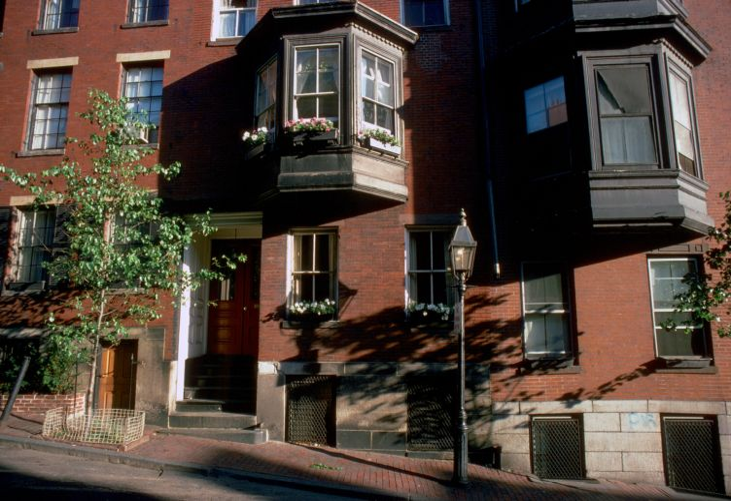 Afternoon summer sun on Mt. Vernon Street, Beacon Hill, downtown Boston