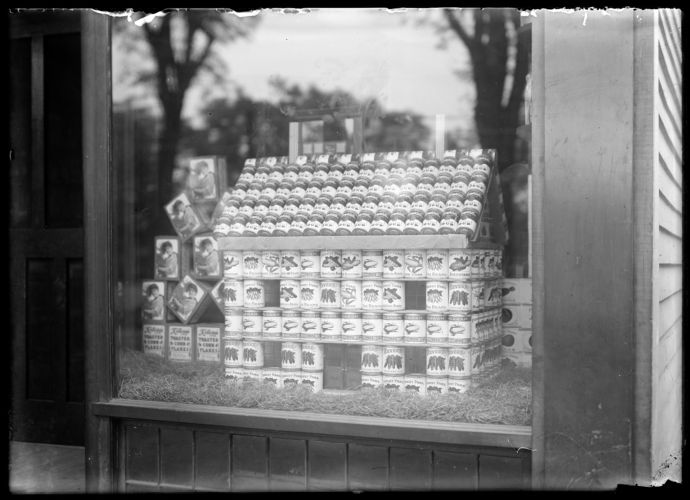 C L Wood store window - canned goods