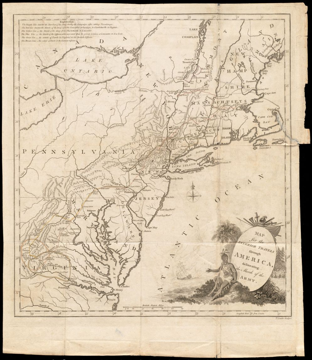 Map for the interior travels through America