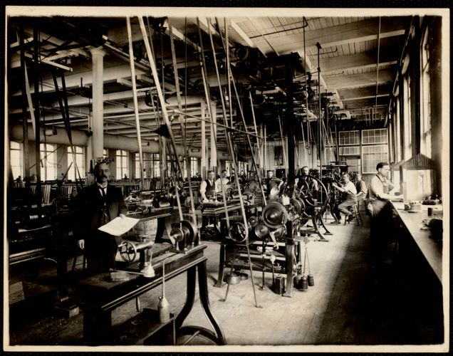 Engraving dept. Steel and copper lathes. Office buiding, 2nd. floor